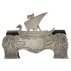 Tiffany Marked Sterling Silver Norwegian Viking Ship Card Holder, Ca 1907-1947