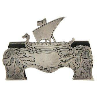 Tiffany Marked Sterling Silver Norwegian Viking Ship Card Holder, Ca 1907-1947