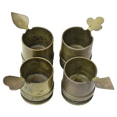 Trench Art Shell Casing Ashtray Set, World War II, Man Cave Collectible