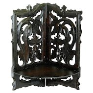 Hand Carved Victorian Folding Corner Shelf