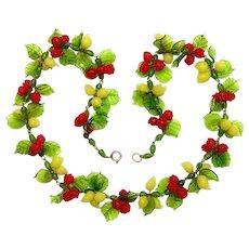 Murano, Italy Necklace - Glass Cherries and Lemons