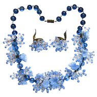 Great Original Condition! Hand-Made Necklace and Earrings in Periwinkle Blue from Murano, Italy