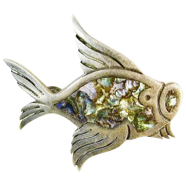 Sterling signed silver abalone fish pin tasco mexico for 94 1 the fish