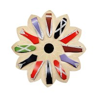 Galalith (Casein) Full Display Card of 12 Vintage Dress Clips, Ca. 1930