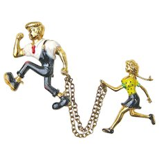 Lil Abner and Daisy Mae Brooch Pin Chatelaine, Ca. 1955