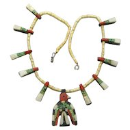 Santo Domingo Thunderbird Necklace, Depression Era, Authenticity Paper Work
