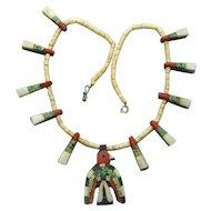 Santo Domingo Thunderbird Necklace with Paper Work, Depression Era