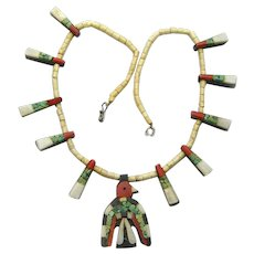 Santo Domingo Thunderbird Necklace with Paper Work, Depression Era