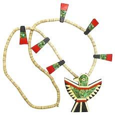 Santo Domingo Necklace, Large Thunderbird Pendant, Depression Era, 1930's