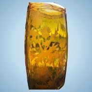 French Art Glass Vase, Wheel Cut Thistles Decor, CA.1930's