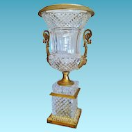 Antique Cut Crystal & Bronze Dore' Urn, Empire Style, 19th C.