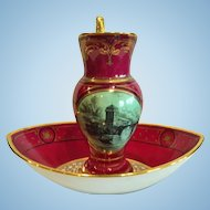 French Empire Porcelain Pitcher and Basin, Boat Form, 19th Century