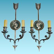 """Maison Charles-Paris, Vintage Pair of ""Directoire Style"" Bronze French Sconces"