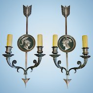 """Maison Charles-Paris, Vintage Pair of ""Directoire Style"" Bronze French Sconces"