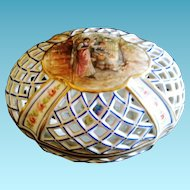 """Antique Hand Painted Porcelain Reticulated """"Potpouri"""" Container, France, CA.1890"""