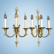 Pair of Vintage French Bronze Sconces, Directoire-Empire Style, CA.1920's