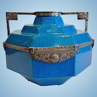 "Exceptional Boch Freres Art Deco Vase, ""Egyptian Blue"", Metal Mounted, CA.1925"
