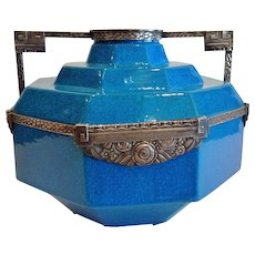 """Exceptional Boch Freres Art Deco Vase, """"Egyptian Blue"""", Metal Mounted, CA.1925"""