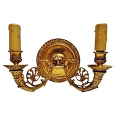 Vintage Pair of French Empire Bronze Wall Sconces, Lion & Swan