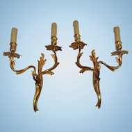 Vintage French Louis XIV Style Bronze Wall Sconces, CA.1920's