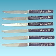 Set of 6 Antique Franco-Japanese Kozuka Knives, Mixed Metal Handles,Sterling Blades
