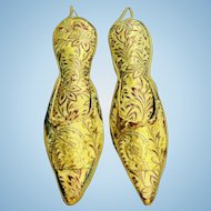 Pair of Antique French Silk Slipper Shape Hanging Pin Holders,CA.1860