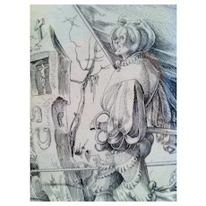 Engraving, German CA.1900, of a URS GRAF Early Traveler Dated 1516