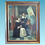 Dutch Romantic Portrait, Artist and his Muse,signed Koster, 1858