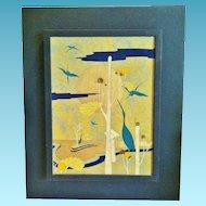 """Surrealist Oil on Canvas, """"Garden of Cranes"""", Franco Lazzari, Italian CA.1990's"""