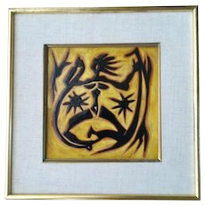 Jean Lurcat Modernist Tile, Dancing Woman with Stars, Original Frame