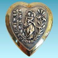 Heart Shape Ex Voto Sacre Coeur,Gilt Silver,CA.1890