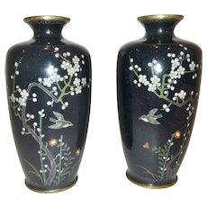 """Miniature Cloisonne Vases, Japanese- """"Ota Jinnoei"""", Meiji Period"""