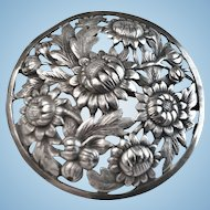 Pair of Silver Brooches, French, Sunflowers:CA.1920's