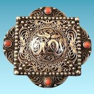 Vintage Algerian or Moroccan Silver & Coral Pin, CA.1920's