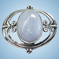 Pin or Brooch, Scottish Sterling and Agate, Vintage