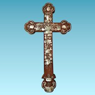 Chinese Carved Hardwood Cross, Mother of Pearl Inlay, 18th/19th Century