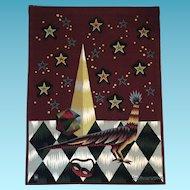 Woven Tapestry- Jean Picart Le Doux, Mid Century Moderne.Oiseau Carnaval, CA.1960's
