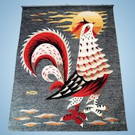 Tapestry Mid Century Moderne, Aubusson Weave, Rooster by M.Ray, CA.1960's