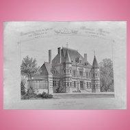 """A Group of  32 Original Antique French Steel Engravings, """"Architecture Privee-Nouvelle Maisons de Paris"""", 1864 Paris"""