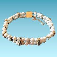 Vintage Lucien Picard Pearl & Saphire Bracelet, 14kt Gold, CA.1950's