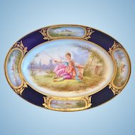Porcelain Oval Cabinet Plate, Hand Painted, Dated 1844