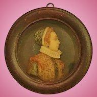 Miniature Portrait -Caterina De'Medici, Carved Wax, 19th Century
