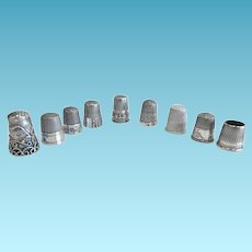 Antique Thimbles, Collection of 9 Thimbles, 8 in Sterling