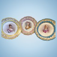 3 Hand Painted Portrait Plates of Prominent French Women, 1846