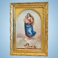 """""""Madonna and Child"""", Hand Painted Porcelain Plaque, Dated 1891"""