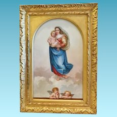 """Madonna and Child"", Hand Painted Porcelain Plaque, Dated 1891"