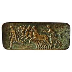 "Max LeVerrier Bronze Desk Tray, ""Course d'Herakles"", CA.1920's"