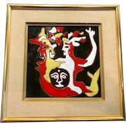 Jean Lurcat Modernist Tile, Original Frame, CA.1950's
