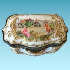 """19th C. Porcelain Patch Box, """"Carl Thieme"""""""