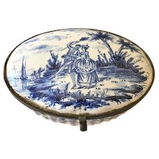Snuff/Tobacco Box, Dutch Porcelain, Delft Fashion, 18th/19th C.